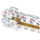 Bedrukte tape PVC, bruin, wit of transparant
