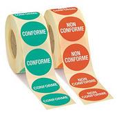 Bollini adesivi in rotolo con stampa conformità