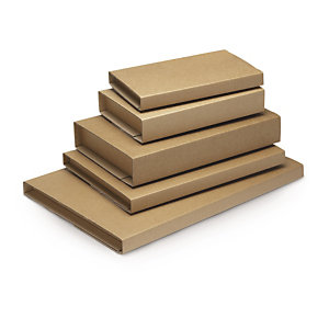 Brown book boxes with adhesive strips