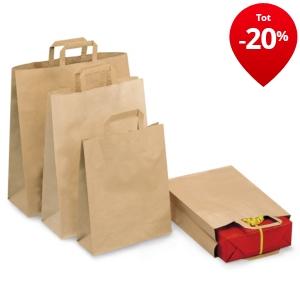 Draagtas in bruin kraftpapier platte oren rajapack for Papieren kraft zakjes