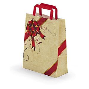 Buste shopper natalizie in carta kraft con maniglie piatte