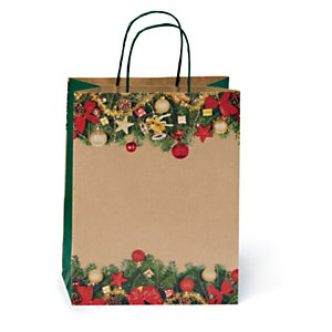 Buste shopper natalizie in carta kraft con maniglie ritorte