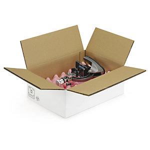 Caisse carton blanche double cannelure RAJABOX longueur 25 à 80 cm