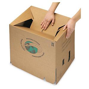 Caisse carton de déménagement double cannelure avec poignées et fond semi-automatique