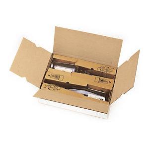 caisse carton blanche d 39 exp dition pour bouteilles avec calage carton anti choc caisses. Black Bedroom Furniture Sets. Home Design Ideas
