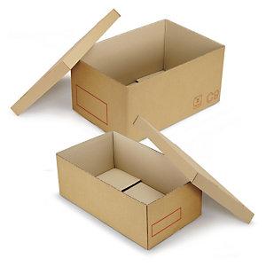 Caisse carton Galia double cannelure avec couvercle renforcé