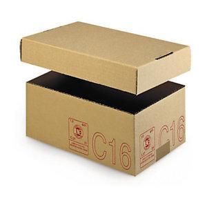 Caisse carton Galia simple cannelure avec couvercle renforcé