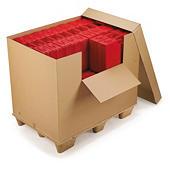 Caja contenedor de cartón con faldón y tapa