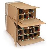 Caja para envío de botellas con celdas reforzadas