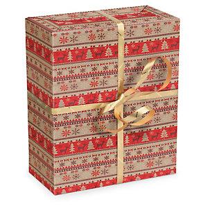 Carta regalo natalizia riciclata a righe rosse e avana