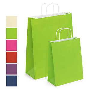 Coloured Kraft paper carrier bags with twisted handles