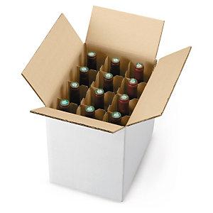 Doos met kruisverdeling om flessen rechtopstaand te verpakken