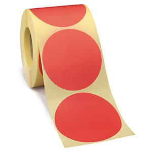 Etiquetas adhesivas redondas en color reposicionables de diámetro 50 mm