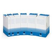 Blauw-witte archiefdoos in mini-golfkarton
