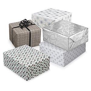 Geschenkpapiere Nordic in Weiss, Silber, Grau