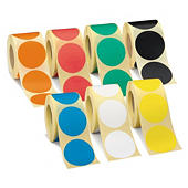 Kolorowe etykiety okrągłe na rolce