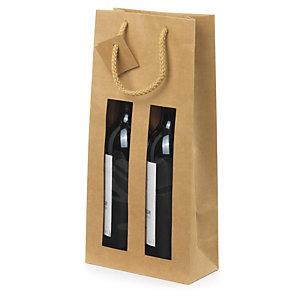 Kraftpapieren draagtas voor flessen met venster