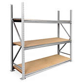 Longspan heavy duty stockroom chipboard shelving starter and add-on bays