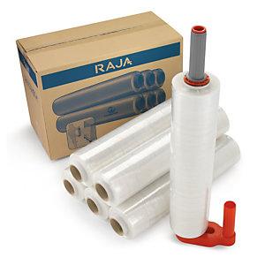 Pack 6 bobines film étirable cast transparent RAJASTRETCH + dérouleur plastique