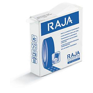 Pastilla adhesiva transparente precortada en caja distribuidora