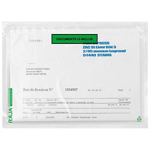 Pochette porte-documents adhésive transparente ou imprimée RAJALIST Green
