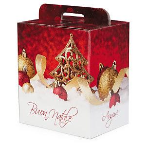 Scatola natalizia rossa con decori oro