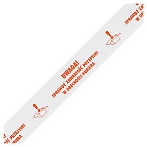 """Zestaw taśma ostrzegawcza pakowa RAJATAPE  """"Fragile"""" i """"Sprawdź zawartość"""" + dyspenser bezpieczny"""