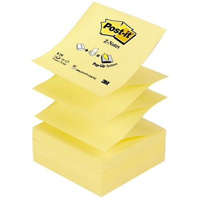 Post-it® Z-Notas Bloques 76 x 76 mm, Canary Yellow™, 12 Bloques, 100 hojas