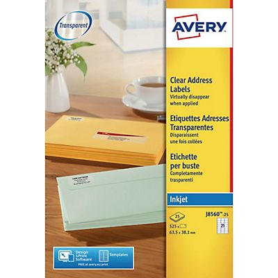 Avery (J8560-25) Etiquetas invisibles inkjet 63,5 x 38,1 mm. A4