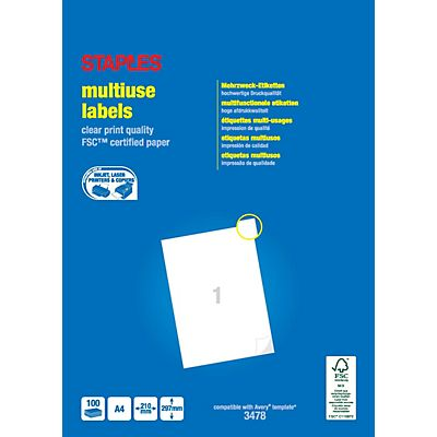 Staples Etiquetas multiuso, autoadhesivas permanentes, angulares, 297 x 210 mm, blanco