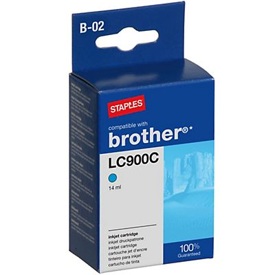 Staples LC900C, Cartucho de Tinta Compatible con Brother, Cian