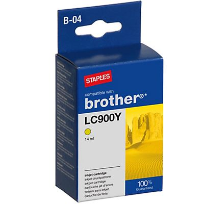 Staples LC900Y, Cartucho de Tinta Compatible con Brother, Amarillo, Paquete Unitario