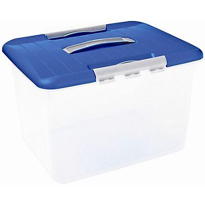 Curver caja de pl stico para almacenaje con tapa azul 30 l for Cajas de plastico precio