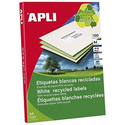 APLI 12066 Etiquetas blancas permanentes recicladas 105,0 x 42,4 mm 100 hojas