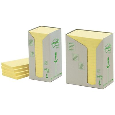 Post-it® Notas Adhesivas Recicladas Bloques 38 x 51 mm, Amarillo Pastel