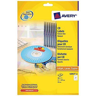 Avery Etiquetas completas para CDs/DVDs para impresoras láser y de ...