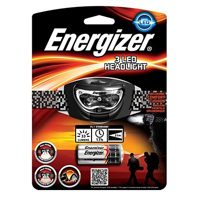 Energizer 3 LED Headlight, Linterna para cabeza, 3 luces LED, 65 x 65 x 40 mm, negro