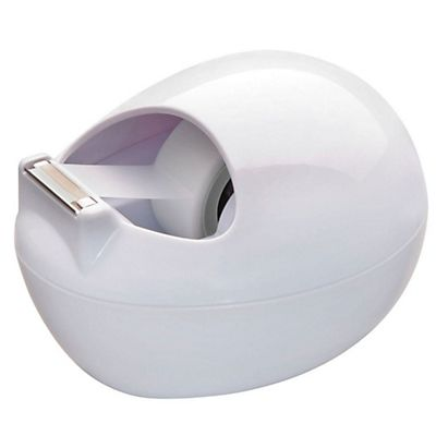Scotch® C36 Dispensador de cinta de escritorio con diseño en forma de piedra de Karim Rashid, blanco + cinta transparente Magic™ de 19 mm x 7,5 m