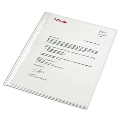 Esselte Funda perforada, Folio, polipropileno de 80 micras, 16 orificios, lisa, transparente