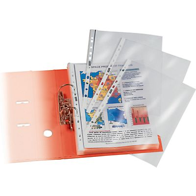 Staples Standard Plus Funda perforada, A4, polipropileno de 60 micras, 11 orificios, lisa, transparente
