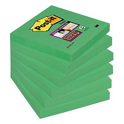 Post-it® Super Sticky Bloc de notas, 76 x 76 mm, verde lima, 90 hojas
