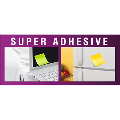Post-it® Super Sticky 654-6SP-PO Notas Adhesivas Bloques 76 x 76 mm, Amapola, 90 hojas