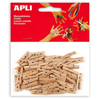 Apli Pinzas de madera natural 25 x 3 mm.