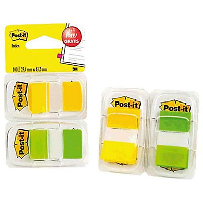 Post-it® Pack 2 Dispensadores de banderitas adhesivas 1 Colores verde y amarillo fluorescente
