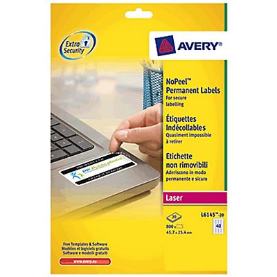 Avery NoPeel™ etiquetas permanentes para impresora láser, a prueba ...