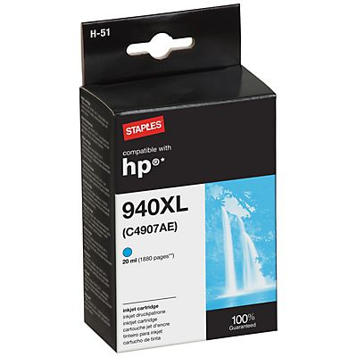 Staples Reciclado HP 940XL Cartucho de tinta Cian