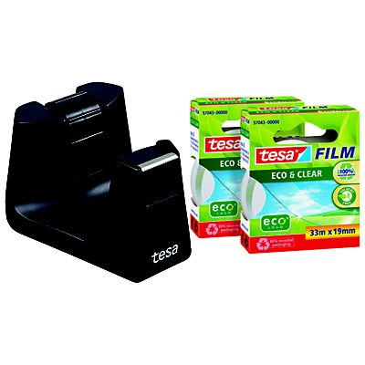 tesa® Easy Cut® SMART Dispensador de escritorio negro con dos rollos de cinta Eco & Clear