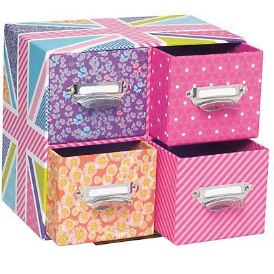 Staples Cajonera con 4 cajones de cartón prensado con secciones de ...