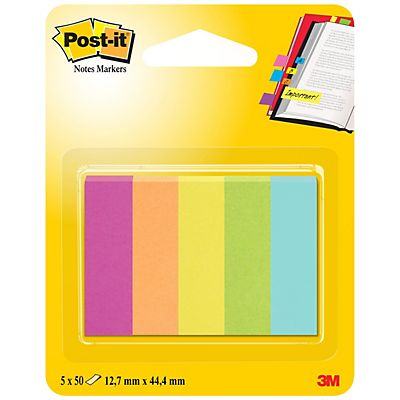 Post-it® Marcapáginas, 12,7 x 44,4 mm, colores variados, paquete de 250