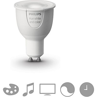 Philips Hue White and Colour Ambience, Bombilla de iluminación LED con reflector, 6,5 W, 100-240 V